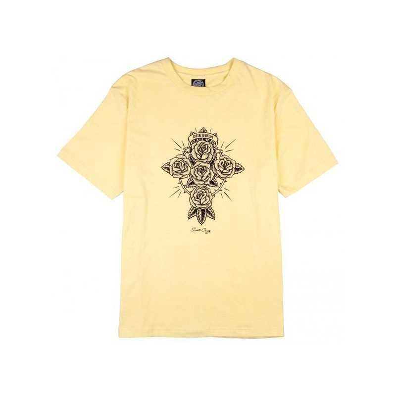 Santa Cruz Dressen Rose Cross Jaune T-Shirt Femme