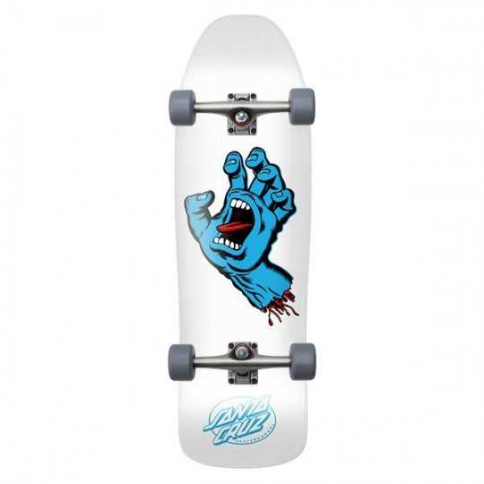 "Santa Cruz Screaming Hand 9.35"" White Skateboard Complet"