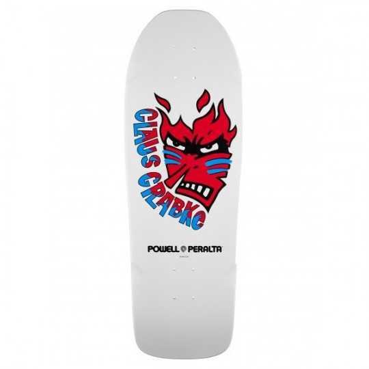 "Powell Peralta Grabke Flame Face 10.25"" White Plateau skateboard"