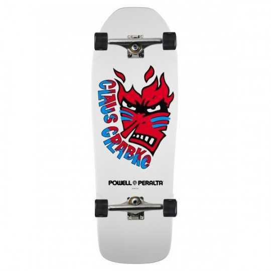 "Powell Peralta Grabke Flame Face 10.25"" White Skateboard Complet"