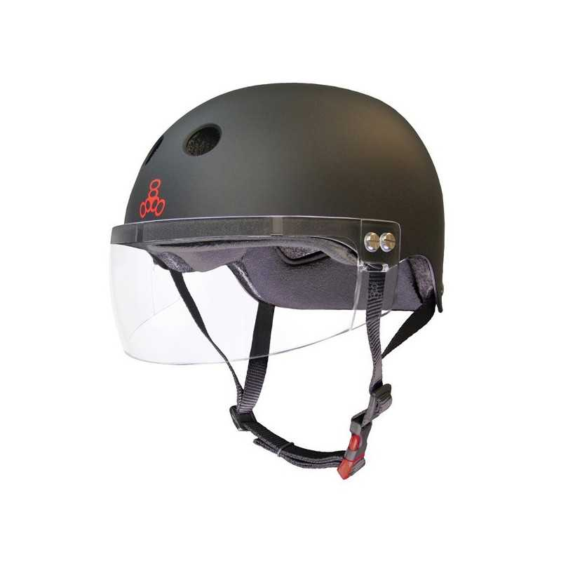 Triple Eight Sweatsaver Black Rubber With Visor Roller Derby Helmet