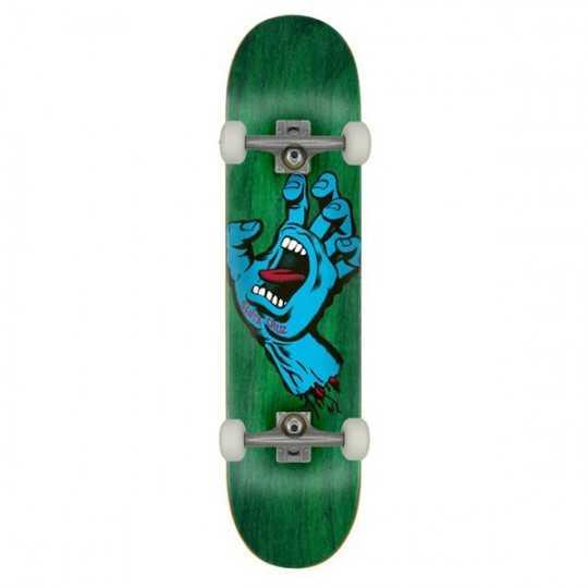 "Santa Cruz Screaming Hand 7.75"" Green Skateboard Complet"