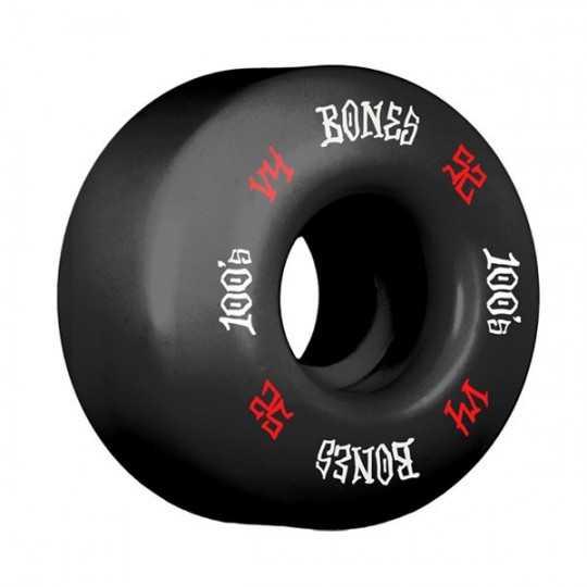 Bones 100's V4 52mm Black N°12 Roues Skateboard