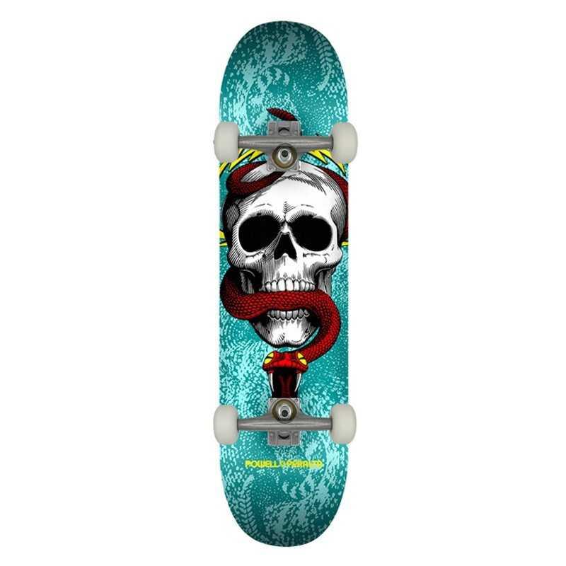 """Powell Peralta Skull & Snake PP 7.75"""" Turquoise Complete Skateboard"""