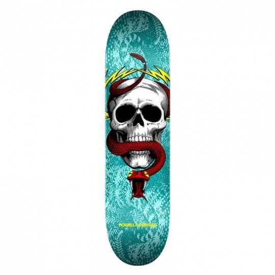 """Powell Peralta Skull & Snake PP 7.75"""" Turquoise Plateau Skateboard"""