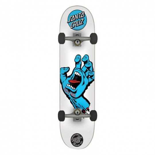 "Santa Cruz Screaming Hand 8"" White Skateboard complet"
