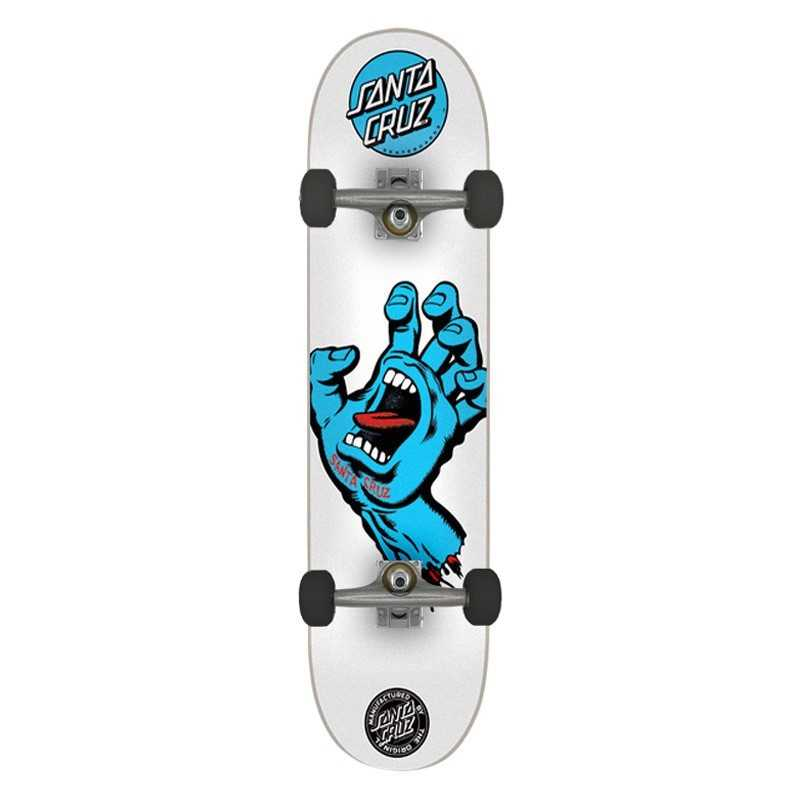 "Santa Cruz Screaming Hand 8"" White Complete Skateboard"