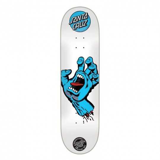 "Santa Cruz Screaming Hand 8"" White Plateau Skateboard"