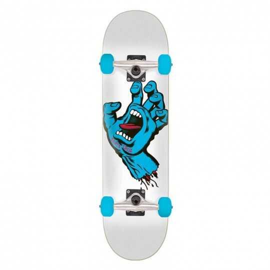 "Santa Cruz Screaming Hand 7.5"" White Skateboard Complet"