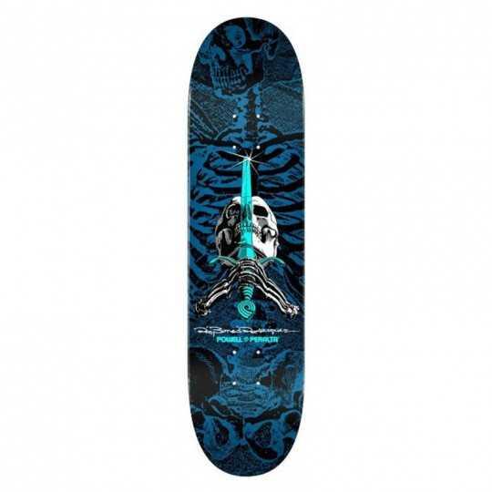 "Powell Peralta PS Rodriguez Skull & Sword 8"" Blue Plateau Skateboard"