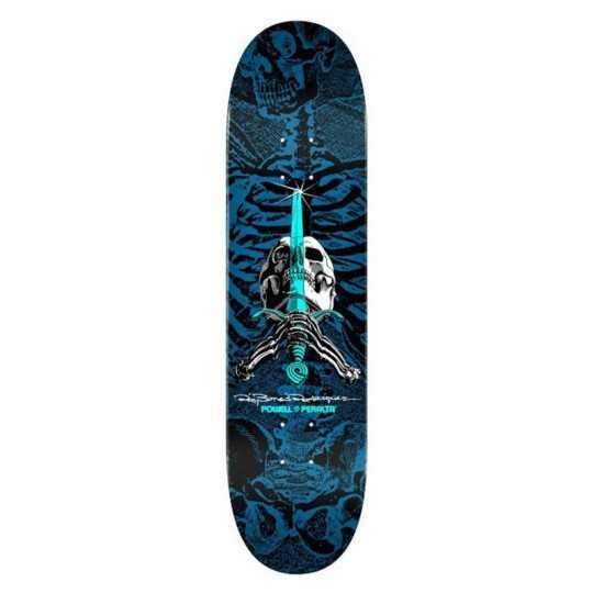 "Powell Peralta PS Rodriguez Skull & Sword 8"" Blue Skateboard Deck"