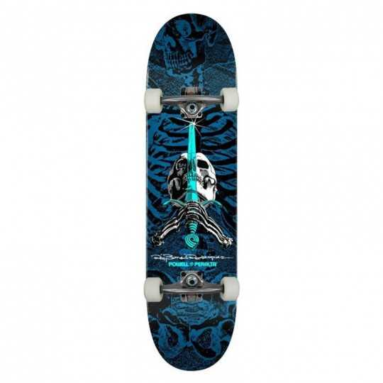 "Powell Peralta PS Rodriguez Skull & Sword 8"" Blue Complete Skateboard"
