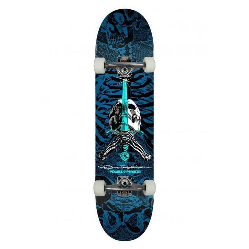 "Powell Peralta PS Rodriguez Skull & Sword 8"" Blue Skateboard Complet"