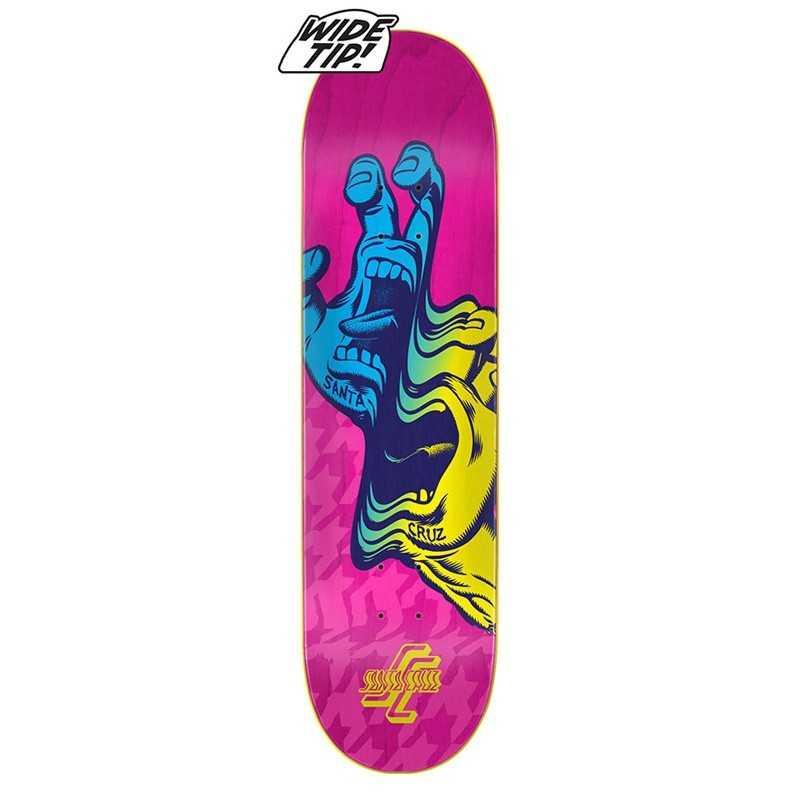 """Santa Cruz Glitch Hand 8.25"""" Wide Tip Plateau Skateboard"""