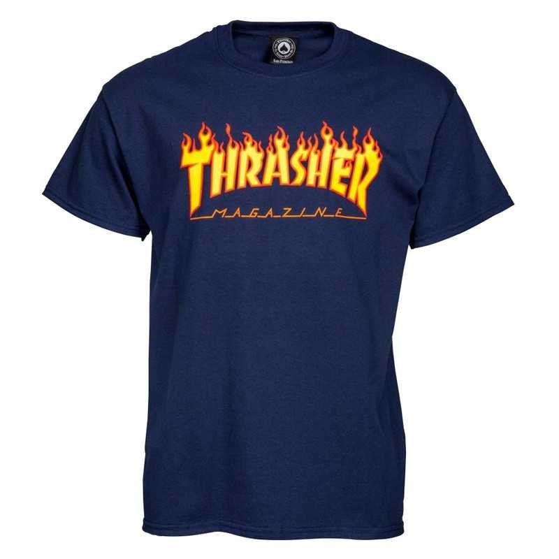 Trasher Logo Flame Navy Tee Shirt