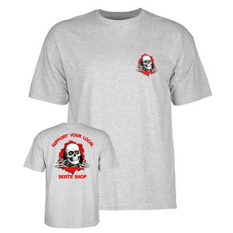 Powell Peralta Support Your Shop Tee Shirt Gray