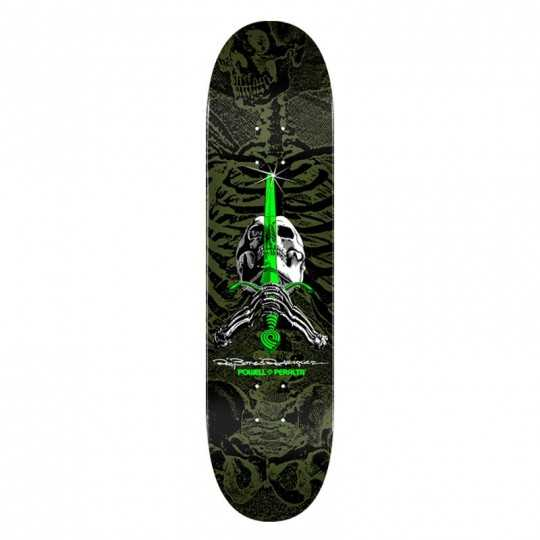 "Powell Peralta PS Rodriguez Skull & Sword 8.25"" Green Skateboard Deck"