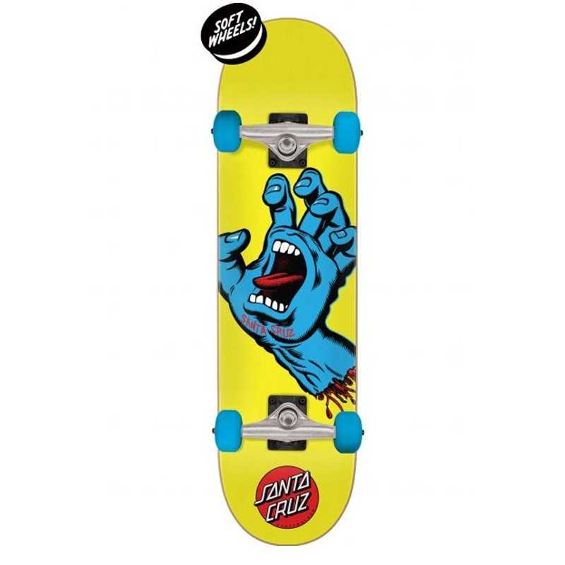 "Santa Cruz Screaming Hand 7.75"" Jaune Skateboard"