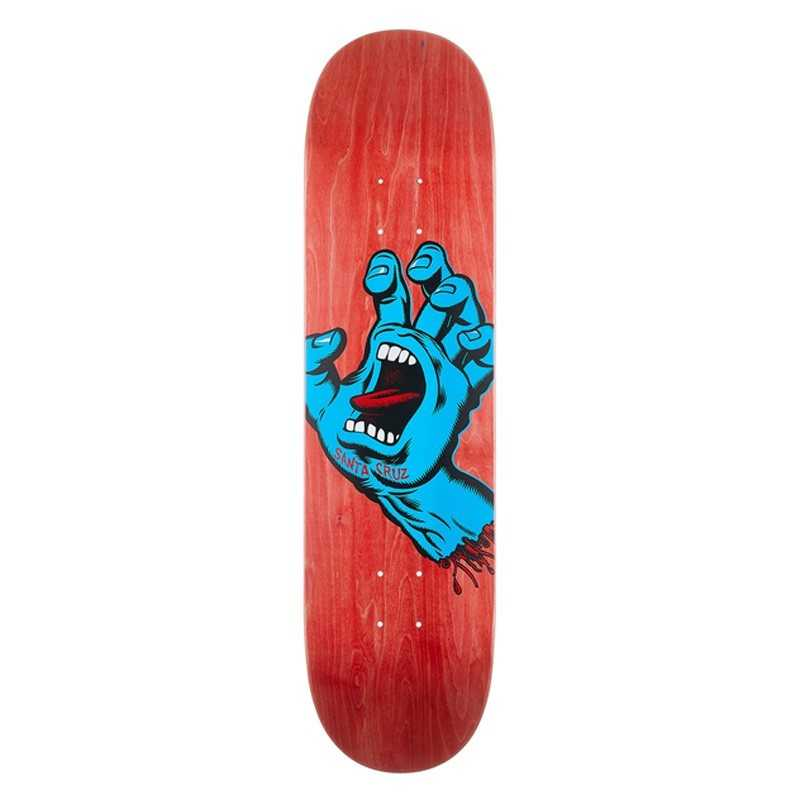 "Santa Cruz Screaming Hand 8"" Red Skateboard Deck"