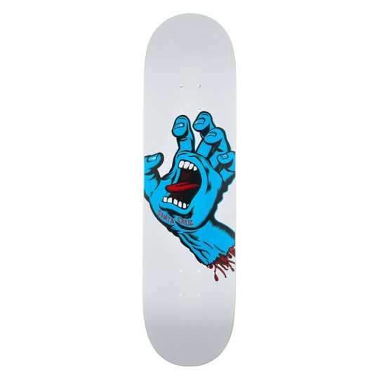 "Santa Cruz Screaming Hand 8.25"" White Plateau Skateboard"