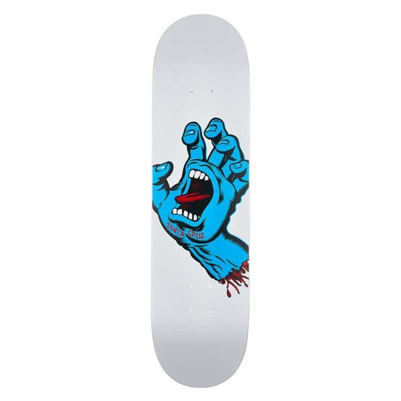 "Santa Cruz Screaming Hand 8.25"" White Skateboard Deck"