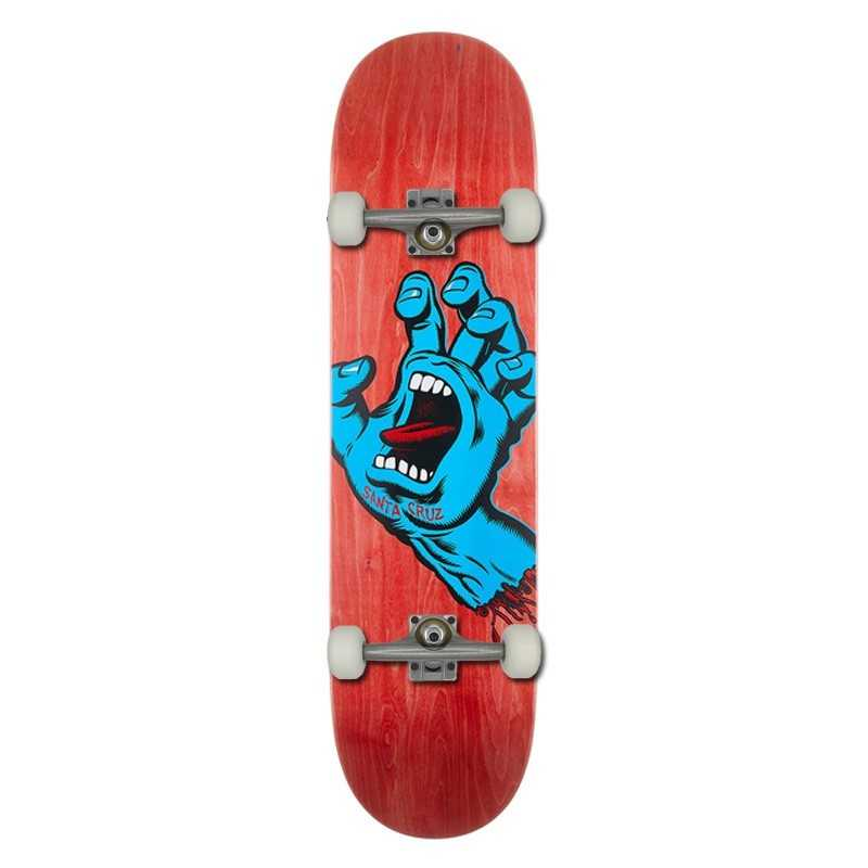 "Santa Cruz Screaming Hand 8"" Red Skateboard"