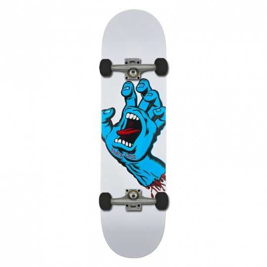 "Santa Cruz Screaming Hand 8.25"" White Skateboard"