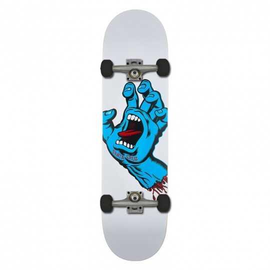 "Santa Cruz Screaming Hand 8.25"" White Skateboard"