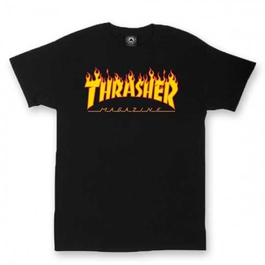 Trasher Flame Logo Black Tee Shirt