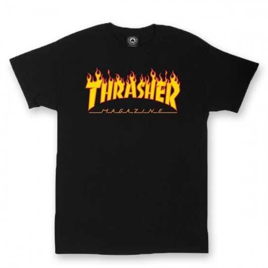 Trasher Logo Flame Noir Tee Shirt