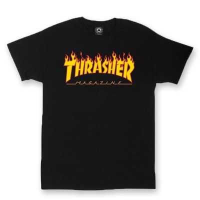 Trasher Flame Logo Black Tee Shirt