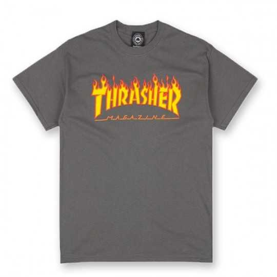Trasher Flame Logo Charcoal Tee Shirt