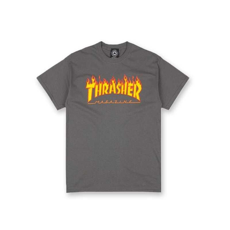 Trasher Logo Flame Charcoal Tee Shirt