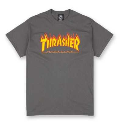 Trasher Logo Flame Charcoal Tee Shirt