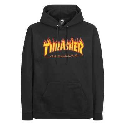 Trasher Logo Flame Noir Sweet Capuche