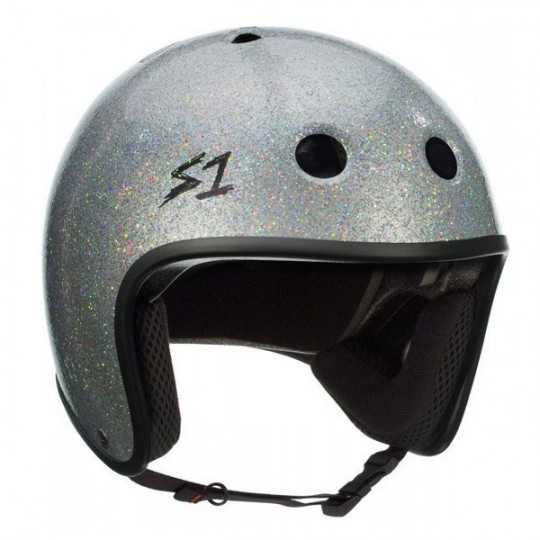 S-One Retro Lifer Silver Paillettes Casque Skateboard