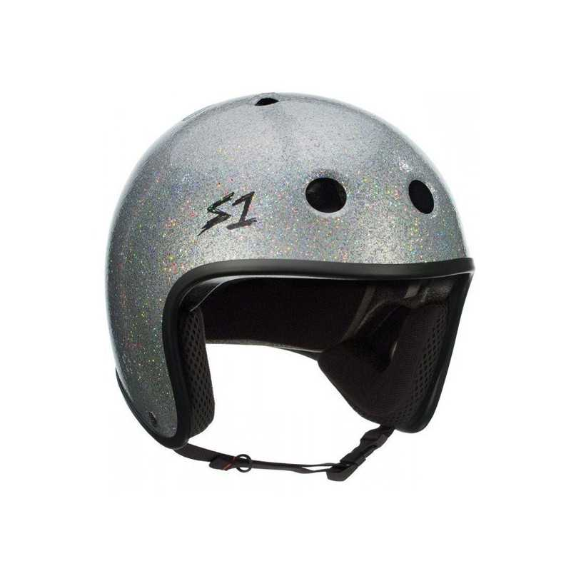 S-One Retro Lifer Silver Glitter Skateboard Helmet