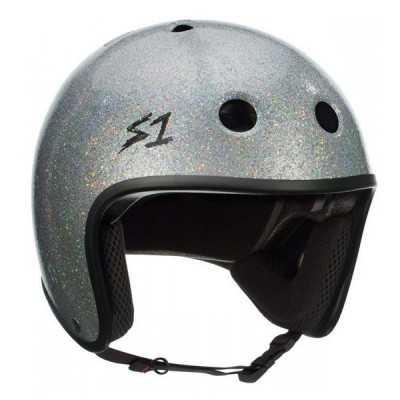 S-One Retro Lifer Silver Glitter Skateboard Helmet