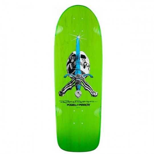 "Powell Peralta Rodriguez Skull Sword Green 10"" Skateboard Deck"