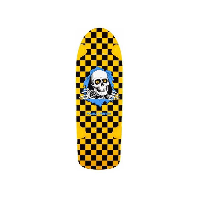 "Powell Peralta OG Ripper 10"" Yellow Checker Skateboard Deck"