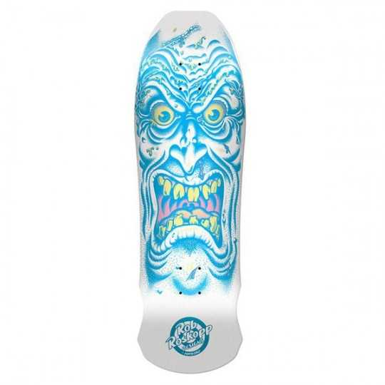 "Santa Cruz Roskopp Face 9.5"" White/Blue Plateau Skateboard"
