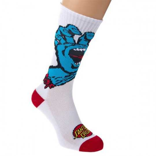 "Santa Cruz ""Screaming Hand"" White Men's Socks"