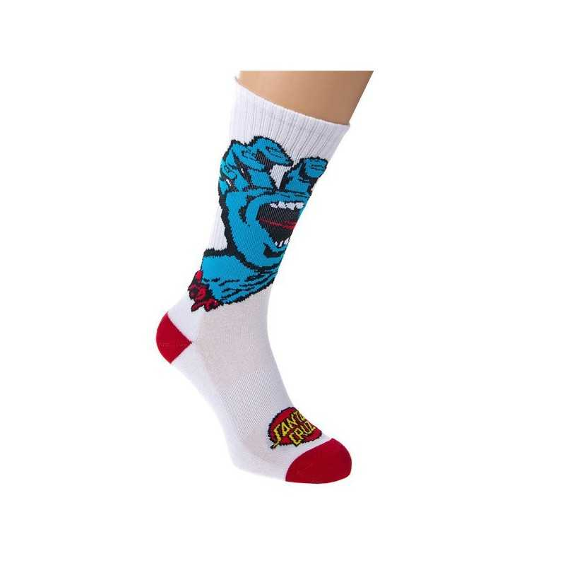 "Santa Cruz ""Screaming Hand"" Blanc Chaussettes Homme"