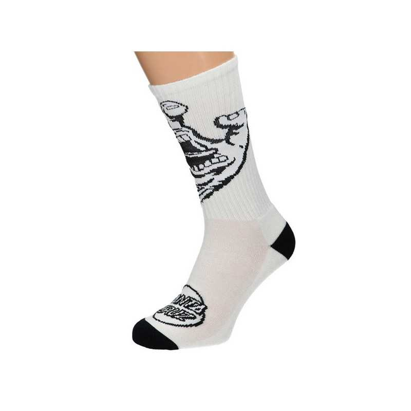 "Santa Cruz ""Screaming Hand Mono"" Blanc Chaussettes Hommes"