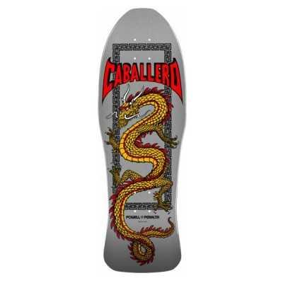 "Powell Peralta Caballero Chinese Dragon Silver 10"" Plateau Skateboard"