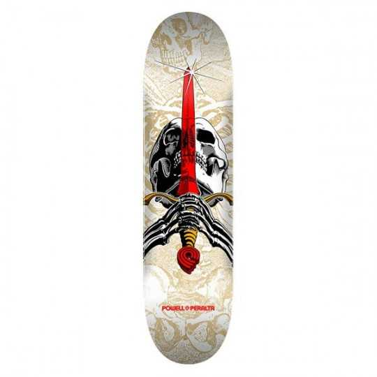 """Powell Peralta Skull & Sword PP 7.5"""" White Plateau Skateboard"""