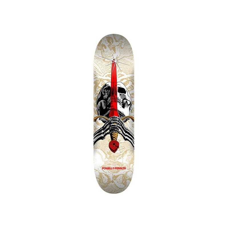 """Powell Peralta Skull & Sword PP 7.5"""" White Skateboard Deck"""
