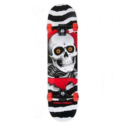 "Powell Peralta Ripper One Off 8"" White Skateboard complet"