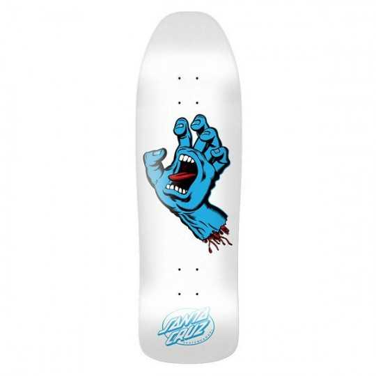 "Santa Cruz Screaming Hand 9.35"" White Plateau Skateboard"