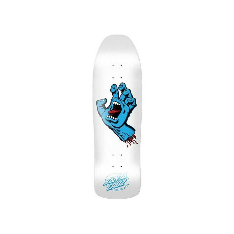 "Santa Cruz Screaming Hand 9.35"" White Plateau Skateboard"